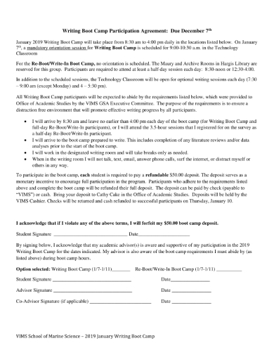 writing boot camp participation agreement