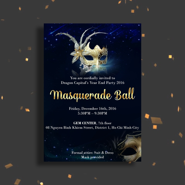 year end masquerade ball invitation
