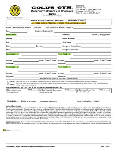 zoltek gym membership contract