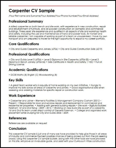 free 10  carpenter resume examples  u0026 templates  download