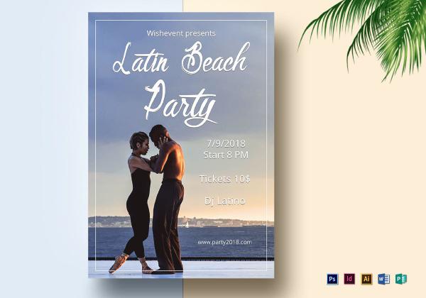 latin nights beach flyer