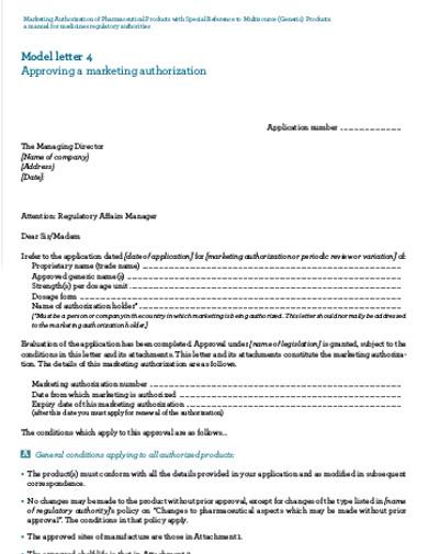marketing authorization letter
