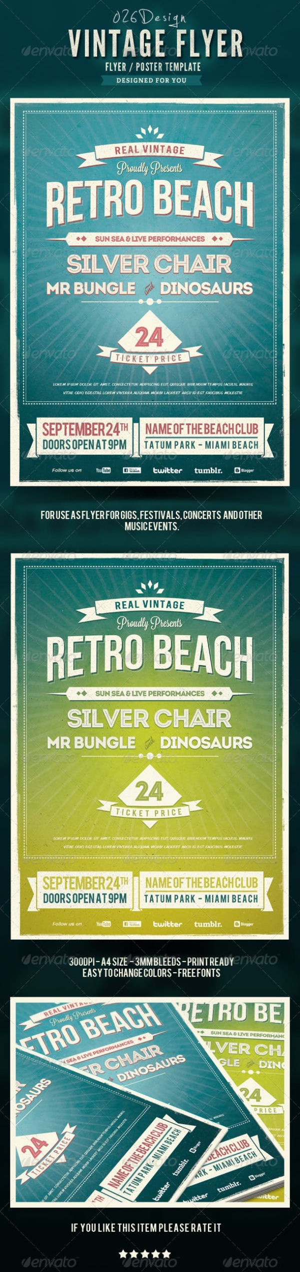 retro beach flyer