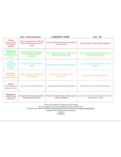 sample homework planner