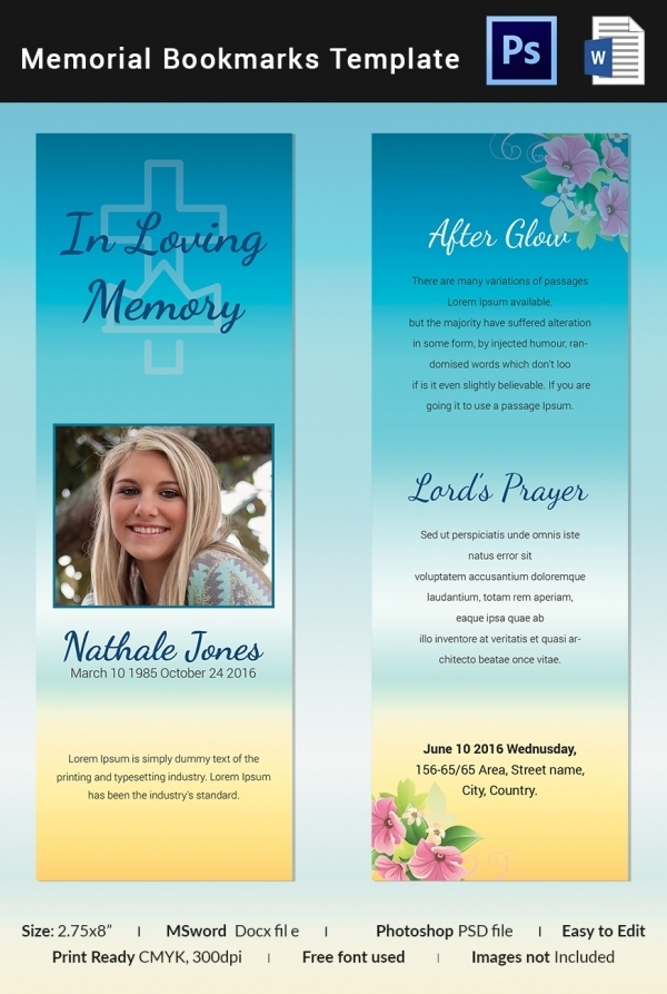 Free 12 Best Memorial Bookmark Examples Templates Examples
