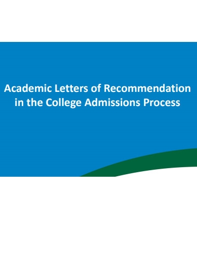 academic letter of recommendation in the college