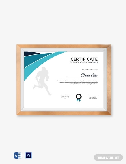 achievement certificate for rugby template