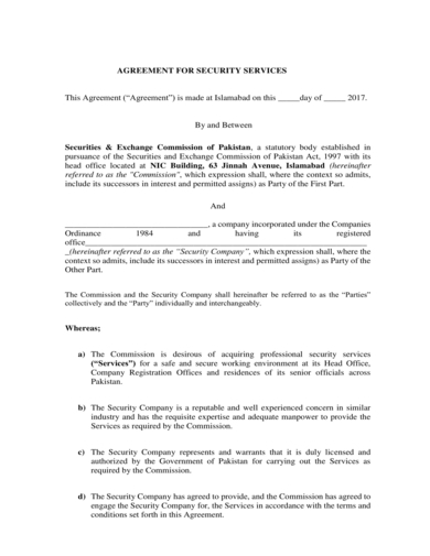 agreement for security guard services contract