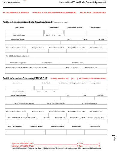 agreement travel consent form