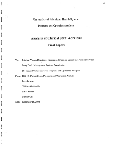 analysis of clerical staff workload