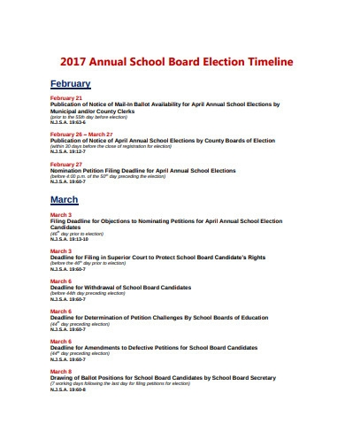 annual school board election timeline