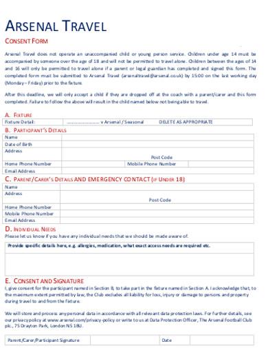 arsenal travel consent form