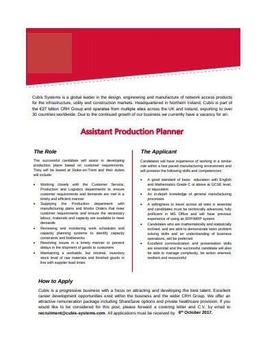 assistant production planner