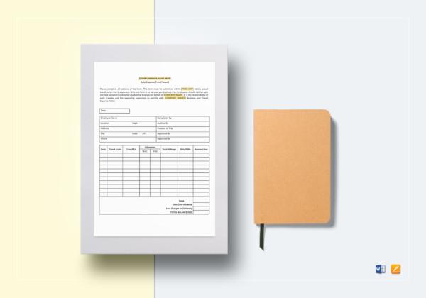 auto expense travel report