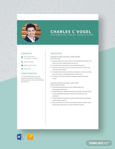 automotive sales consultant resume template
