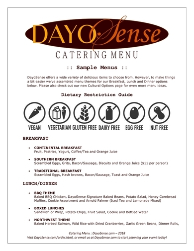 basic catering menu from dayosense