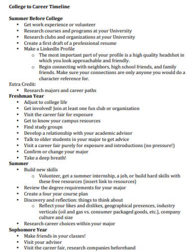 basic college career timeline