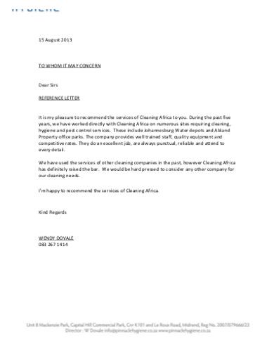 basic company reference letter