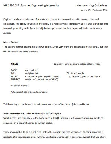 basic memo writing example