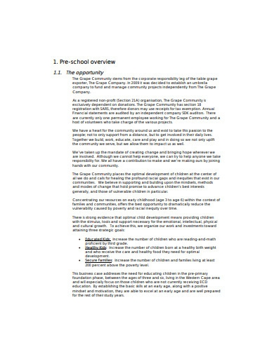 basic preschool business plan