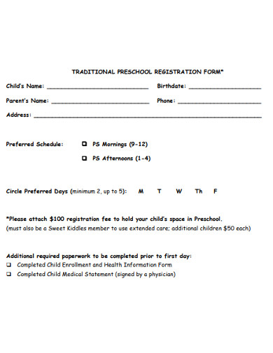 basic preschool registration form example