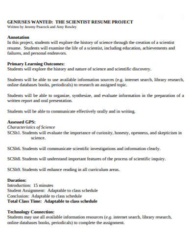 basic project resume