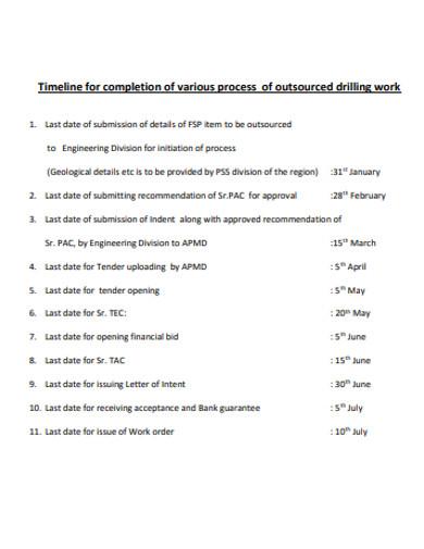 basic work timeline