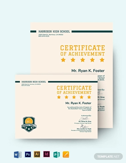 basketball certificate of achievement template
