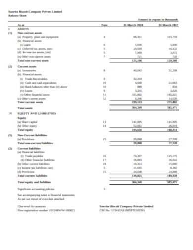 biscuit company balance sheet