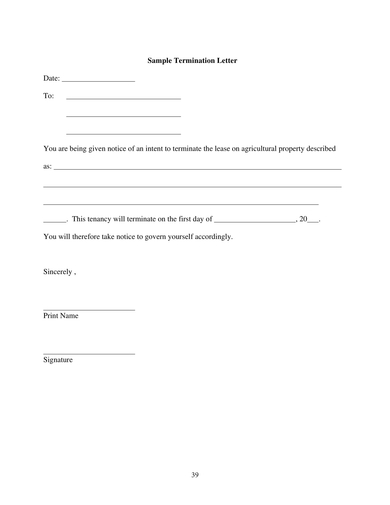 blank end of lease letter to tenant