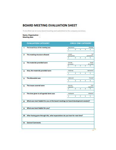 board meeting evaluation sheet