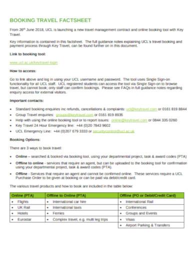 booking travel factsheet