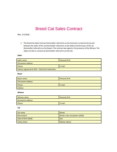 breed cat sales contract
