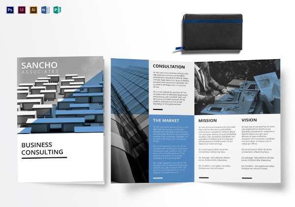 business consulting bi fold brochure template