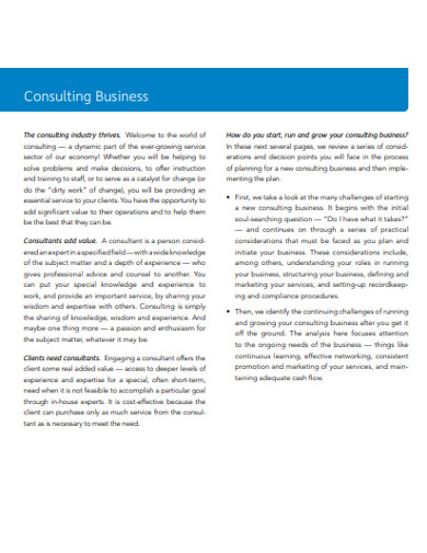 business consulting templates format