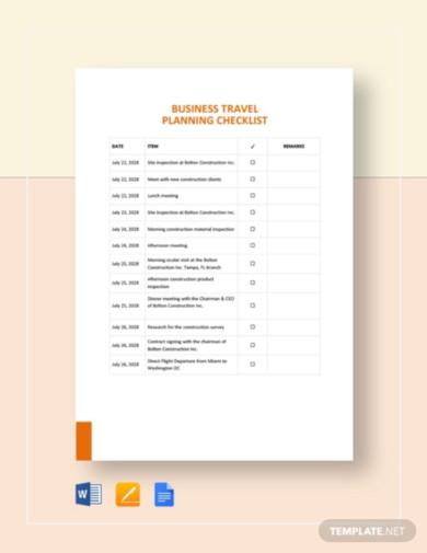 business travel planning checklist
