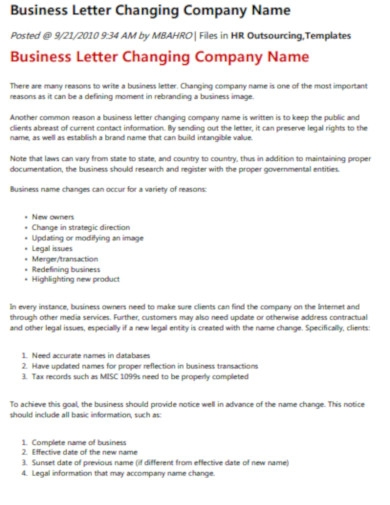 business company name change letter