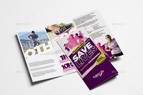 cancer benefit tri fold brochure template