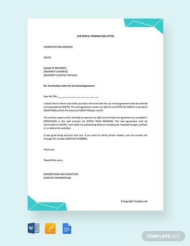 car rental termination letter