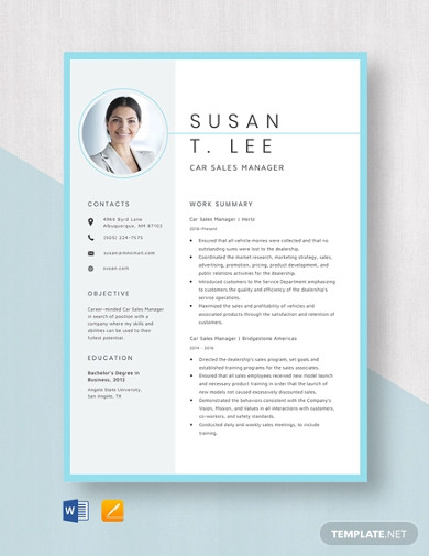 car sales manager resume template