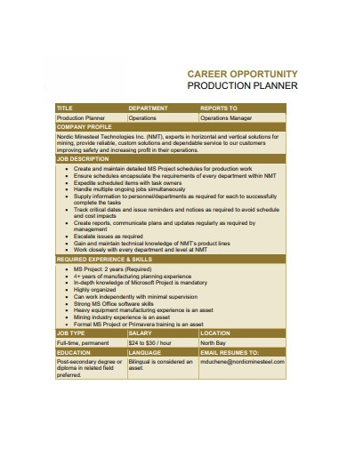 career opportunity production planner