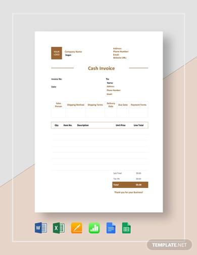 cash invoice template