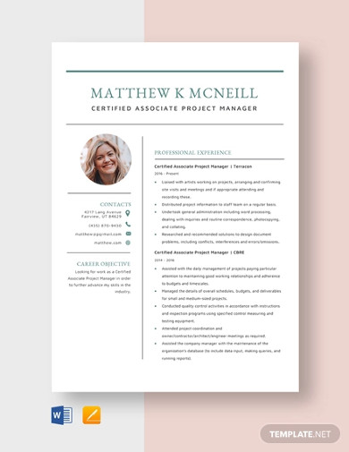 certified associate project manager resume template