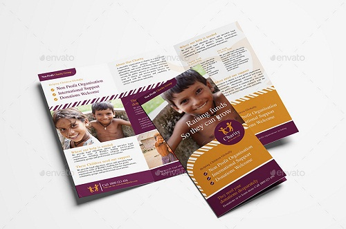 charity trifold brochure template
