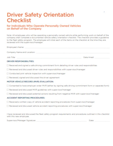 checklist for own vehicle behalf of company