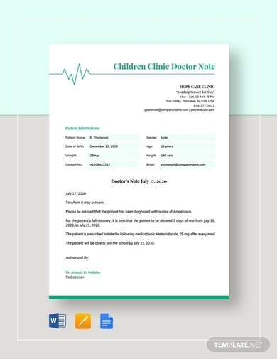 childrens clinic doctors note