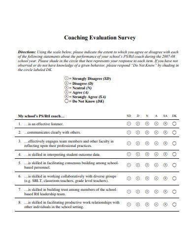 coaching evaluation survey example