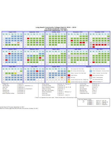 collage week academic calendar