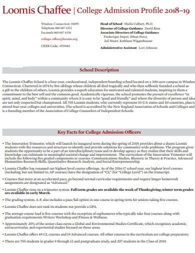 college admission profiles