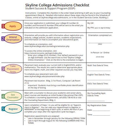 college admissions checklist